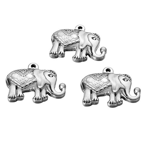 5Pcs Stainless Steel Elephant Charms Animal Pendant for Jewelry Makings 20mmx25mm ()