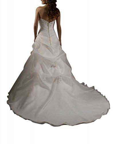 GEORGE Hochzeitskleider traegerloses mit Brautkleider Elfenbein BRIDE Organza gefaltetes Spitze Asymmetrische ueber Satin Mieder Pq4Prn