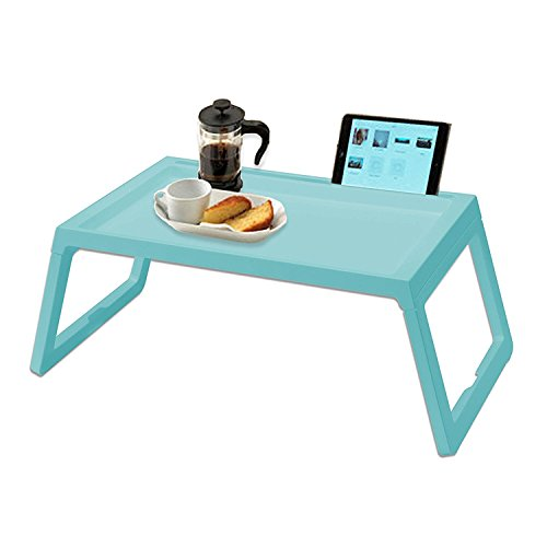 Bed Table, Foldable Breakfast Dinner Serving Bed Tray, Laptop stand Tablet Notebook Holder for Sofa Floor, Portable Mini Picnic Desk, 22 Inch Lightweight PP, Blue by RAINBEAN
