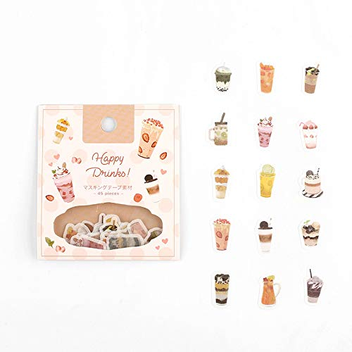BGM - Flake Stickers - Flake Seal - Happy Drink (Washi Tape Material)