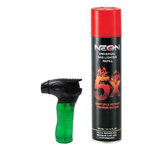 Neon Torch Lighter with FREE Neon 5X Refined Butane Gas