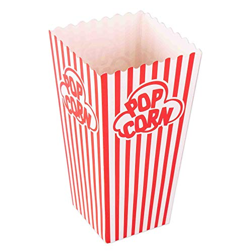 Large Popcorn Boxes (Popcorn Containers Boxes (100 Pack) - Striped White and Red Paper - for Home Movie)