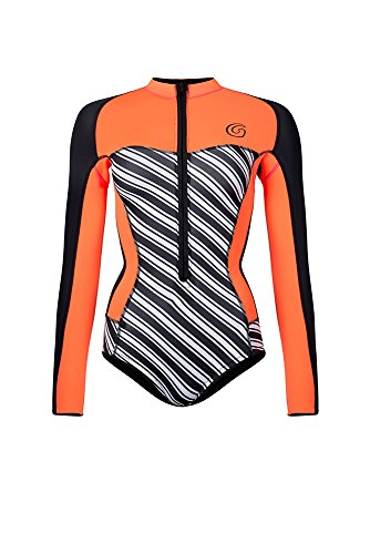 Glidesoul Women's Vibrant Stripes Collection 0.5mm Spring Suit, Stripes Print/Black/Peach, Small