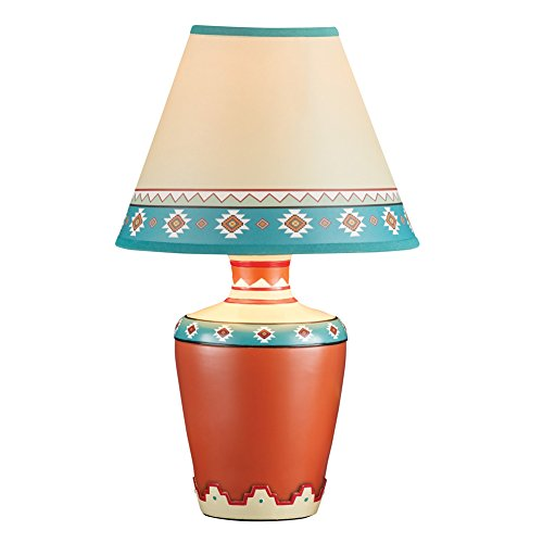 (Collections Etc Southwestern Décor Aztec Vase Table Lamp with Shade, 14 inches Tall)