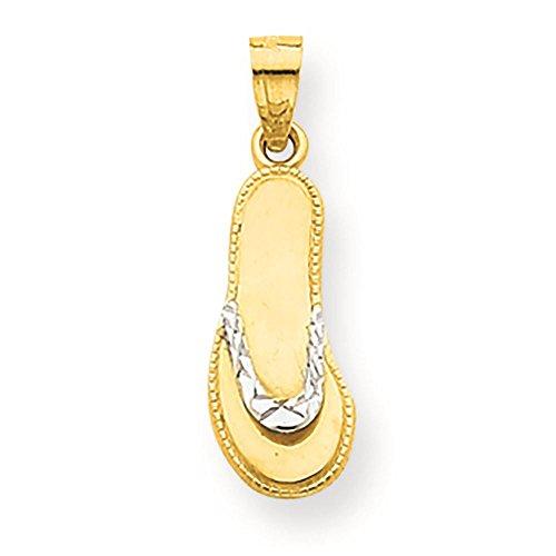 10K Yellow Gold Flip Flop Charm Pendant