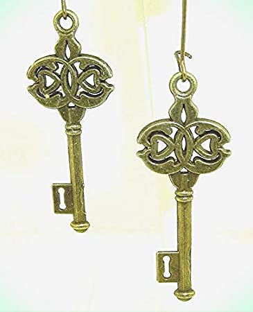 Earrings-dangling bronze colored skeletons