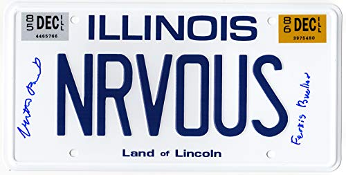 Matthew Broderick Signed Ferris Bueller's Day Off 'NRVOUS' Illinois License Plate w/Ferris Bueller ()