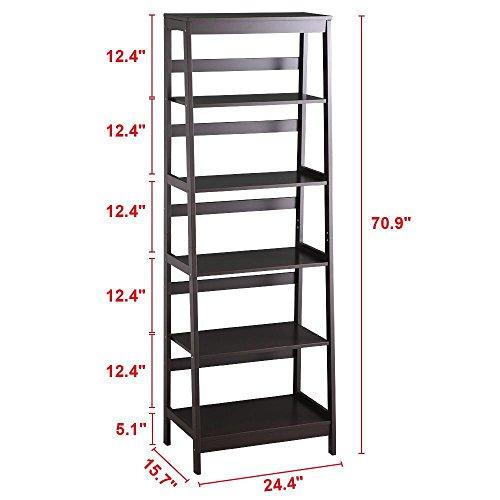 Yaheetech 5 Tier A Frame Wood Ladder Bookshelf