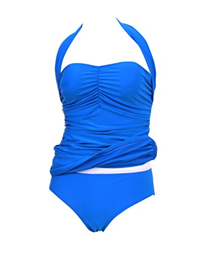 HaiCoo Retro Solid Halter One Piece Womans Swimwear Summer Pin Up OSD BE2, Medium, Blue