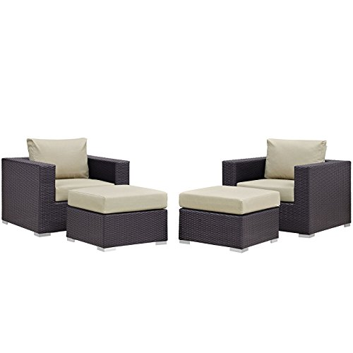 Modway Convene Wicker Rattan 4-Piece Outdoor Patio Furniture Set in Espresso Beige ()