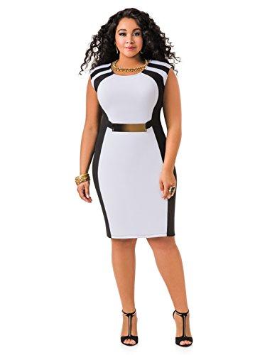 Ashley Stewart Women's Plus Size Gold Bar Colorblock Dress - Size: 26, Color: Black White