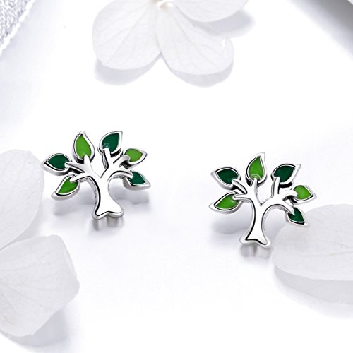 BISAER Tree of Life 925 Sterling Silver Stud Earrings with Green Enamel Leaves, Cute Post Stud Earring Hypoallergenic Jewelry for Women. by BISAER (Image #4)'