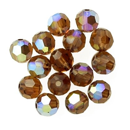 a8fa00d50 Amazon.com: 100 pcs 4mm Swarovski Crystal Round Beads 5000, Smoked Topaz AB,  SW-5000: Home & Kitchen