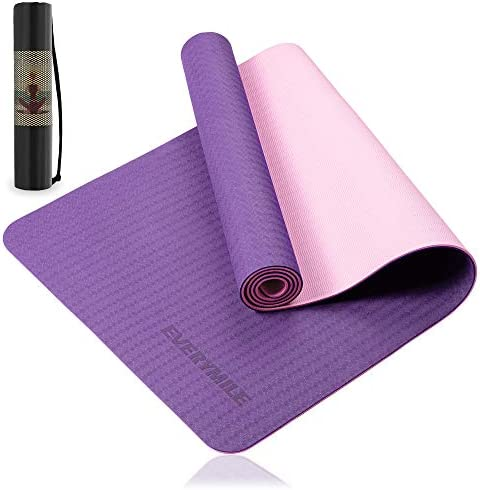 EveryMile Yoga Mat for Women, Eco Friendly Fitness Exercise Mat with Non-Slip Textured Surface, 1/4-inch Workout Mat for Yoga, Pilates and Home Floor Exercise, with Carrying Bag & Strap