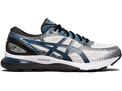 ASICS Men's Gel-Nimbus 21 Running Shoes, 9.5M, White/DEEP Sapphire