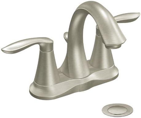 Moen CA6410BN Eva Two-Handle High Arc Bathroom Faucet, Brushed Nickel