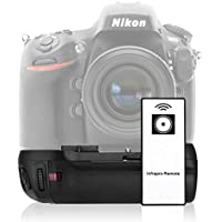 Powerextra MB-D12 Battery Grip Infrared Remote Control Replacement for Nikon D800/D800E/D810 Digital SLR Cameras Works with 1 pc EN-EL15 Battery Or 8 AA-size Batteries