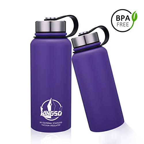 KingSo 30 oz Wide Mouth BPA Free Double Walled Vacuum Insulated Stainless Steel Sports Water Bottle for Hot and Cold Beverages Purple