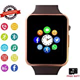 Smartwatch, Bluetooth Smart Watch Phone with Camera Pedometer SIM Card Slot for Android Samsung Sony Huawei and iOS iPhone (Partial Functions) Men Women Kids (Gold)