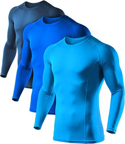 Sky Blue Soccer T-Shirt - ATHLIO Men's Cool Dry Compression Long