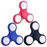3 Packs Fidget Toys Fidget Hand Spinner LED Light Up Switch Control Ultra High Speed Long Spin Time Glow in the Dark EDC Finger Toy for Stress and Anxiety Relief(Black+Blue+Red)