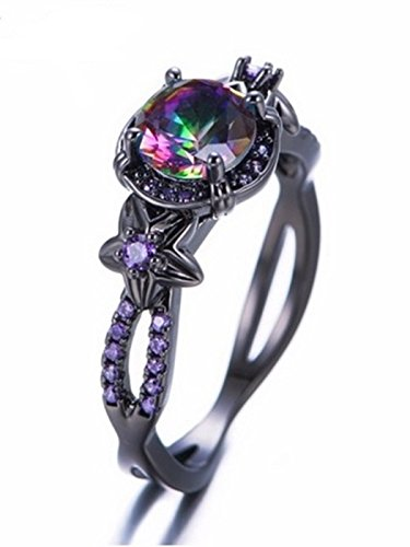 Black Licorice Vanity (Fortonatori Rainbow Ring Black Gold Filled Plated Floral Engagement Promise Vintage CZ)