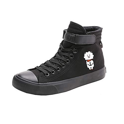 Black14 Canvas Spring De Alta Estudiantes Con Printed Ayuda Bts Popular Zapatos Cordones qZawxwP