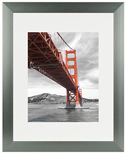 Frametory, 11x14 Dark Grey Brushed Metal Picture Frame Collection, Aluminum Photo Frame with Ivory Color Mat for 8x10 Picture & Real Glass Brushed Metal Picture Frame