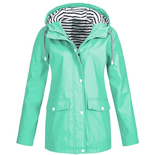 (iFOMO Waterproof Shell Jacket Waist Hooded Midi Long Style Raincoat Windbreaker Rain Jacket for Women(Mint Green,S))