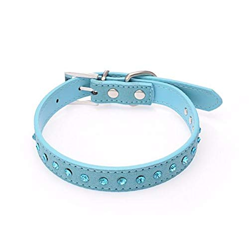 Suesshop Pet Collars, Adjustable Leather Dog Collar Blue Rhinestone Neck Strap, Collar Stays, Dog Leash, Retractable Dog Leash, Personalized Dog Collar, Sharp Spiked Dog Collar Studded Dog Collar