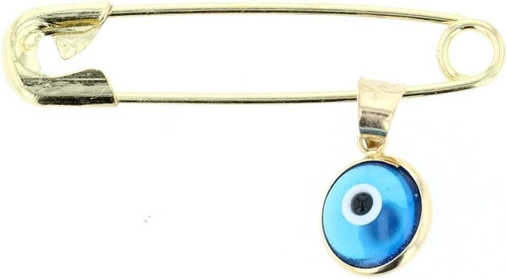 14Kt Gold Evil Eye Charm with Brass Safety Pin to Hook DiamondJewelryNY Evil Eye