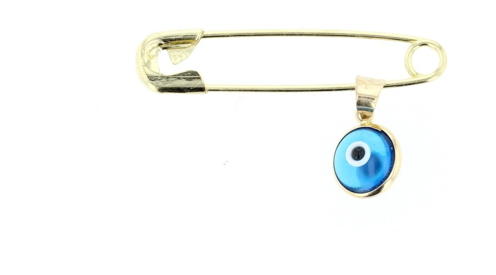 DiamondJewelryNY Evil Eye, 14Kt Gold Evil Eye Charm with Brass Safety Pin to Hook