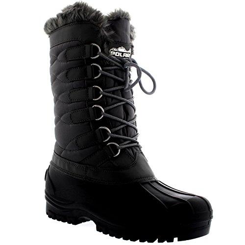 Womens Nylon kalt Wetter Outdoor Schnee Ente Winter Regen Spitze Boot Grau
