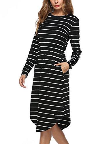 ESDAMIER E Women Casual Crew Neck Elastic Waist Strip Midi Pockets Dress(Black, M)
