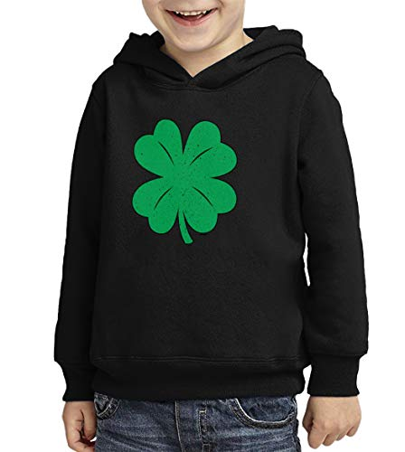 Distressed Four Leaf Clover - Shamrock Toddler/Youth Fleece Hoodie (Black, X-Small (Youth))