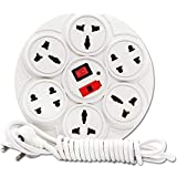 Meralite Extension Board, 6 Amp 8 Multi Plug Point Extension Cord with Led Indicator and Universal Socket - White