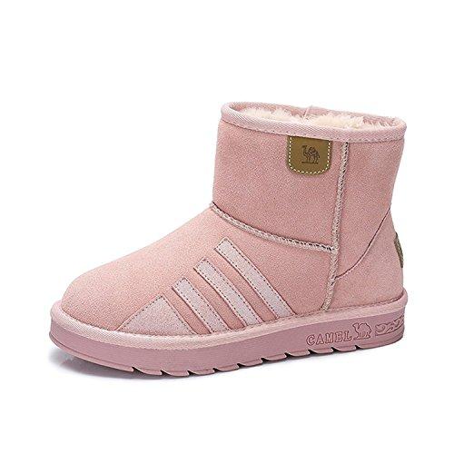 Stivali Da Neve Con Punta Rotonda E Pelliccia Color Rosa Caldo