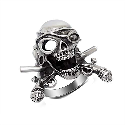 Men's Stainless Steel Old Pirate Skull Head Ring Band Vintage Fashion Gothic Biker Silver Black ()