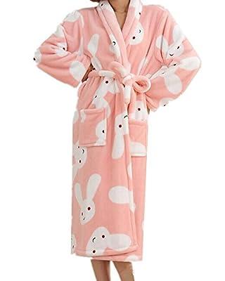 Chancen Women's Rabbit Patterned Fleece Bathrobe Sleep Robe Plush Spa Robe Pink