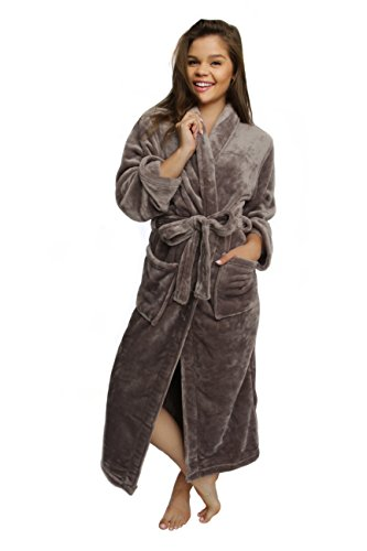 Wrapped In A Cloud Women's Plush Spa Robe Silver Linings Grey, S/M - Envelope Robe Cotton Red