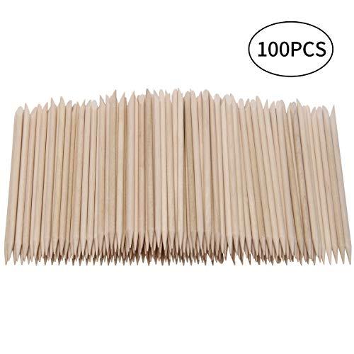 Adecco LLC 100 PCS Orange Wood Sticks, Nail Art Cuticle Pusher Remover for Manicure Pedicure ()