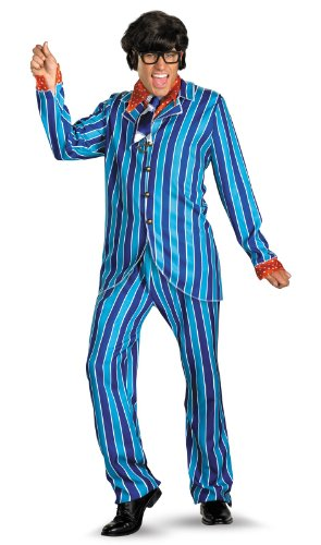 Austin Power Halloween Costumes (Disguise Austin Powers Carnaby Suit Deluxe 42-46 Costume, Blue/Red, X-Large/42-46)