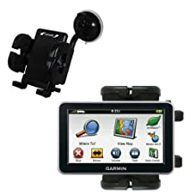 Gomadic Brand Flexible Car Auto Windshield Holder Mount for the Garmin Nuvi 2460 2450 - Gooseneck Suction Cup Style Cradle