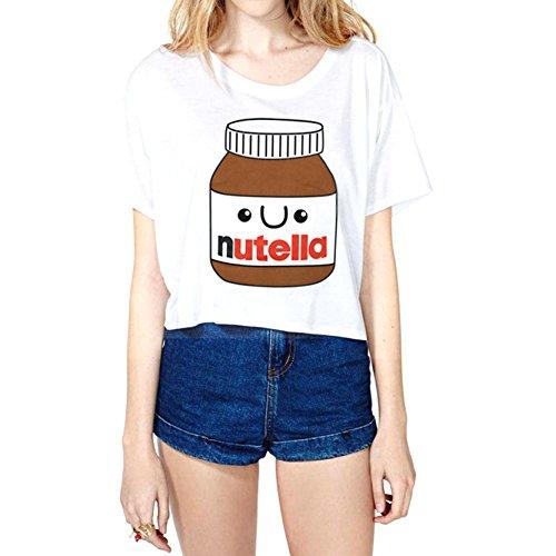 Heißer Verkauf Mädchen Frauen Tank Nutella Drucken Kurzarm T-Shirt Einheitsgröße