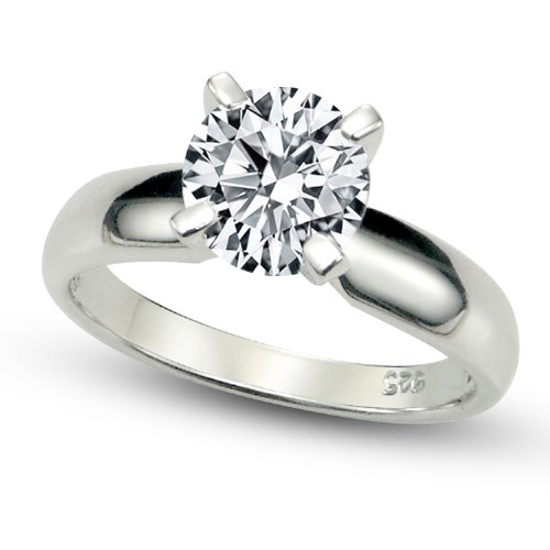 Solitaire Engagement Wedding Ring (Sz 8 Sterling Silver Cubic Zirconia Solitaire 1.25 Carat tw Round Cut 4-Prong Set CZ Engagement Ring)