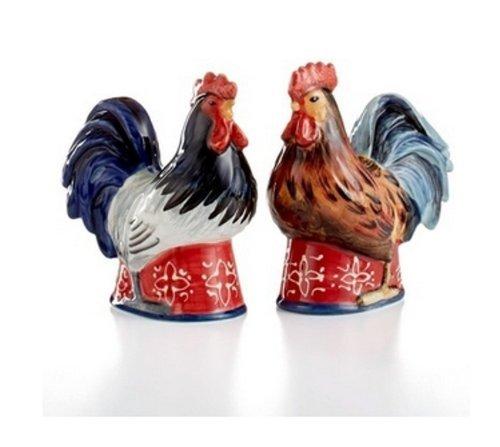 Ceramic Americana Rooster 3-D Salt Pepper Shaker Set Certified International
