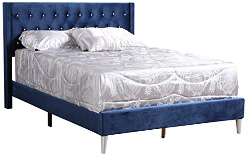 Glory Furniture Bergen G1629-QB-UP Queen, Navy Blue Upholstered Bed,