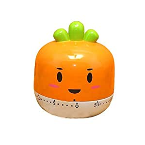 "Kangkang@ [Carrot]2.8""cute Vegetable Mechanical Movement Kitchen Timer/reminder-60 Minutes Lovely Kitchen Clock Reminders Tomato Small Alarm Timer Countdown Timer Cook Mechanical Timer"