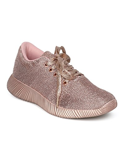 Alrisco Women Lace Up Jogger Sneaker - Metallic Band Low Top Sneaker - Casual Trendy Versatile Everyday Gym Workout - HD45 by Qupid Collection Rose Gold Metallic Y9Jjxpgso