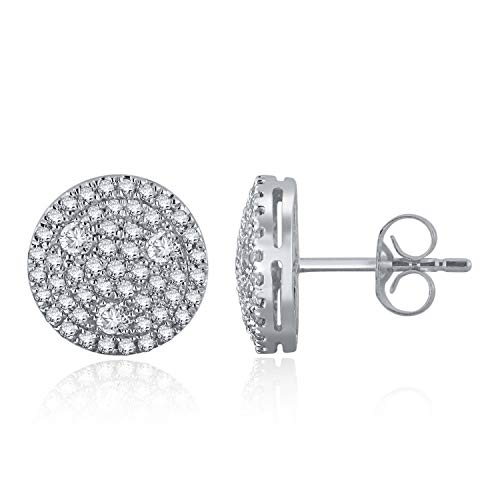 14K White Gold & Triangle Accented Round 3/4 Cttw Diamond Pave Button Earrings (H-I Color, I1-I2)